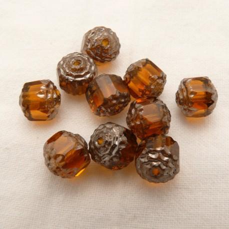 Perles fantaisie ronde transparente topaze 8mm qu10