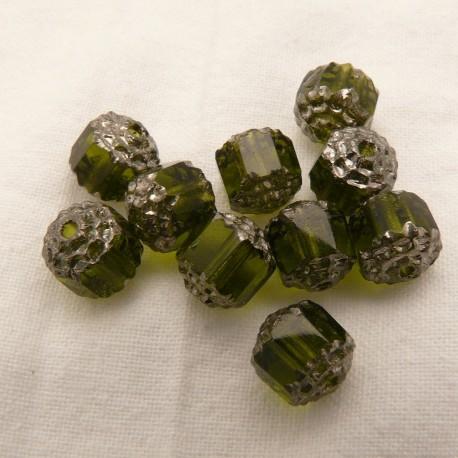 Perles fantaisie ronde transparente olive 8mm qu10