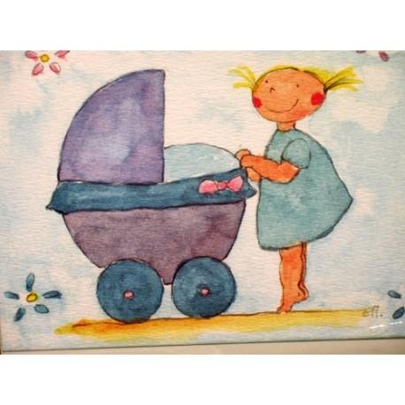 Carte postale la petite fille au berceau