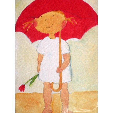 Carte postale la petite fille au parapluie