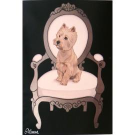 Carte postale chien westie Maryline Cazenave