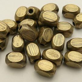 Perles métal cylindre vieil or 7x4mm qu10