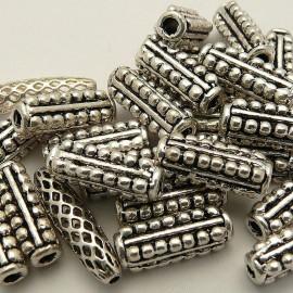 Perle métal cylindre vieil argent 15x5mm