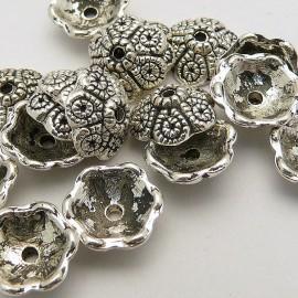 Perle métal calot ciselé vieil argent 10mm