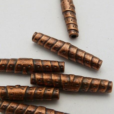 Perle métal cylindre cuivre 25x4mm
