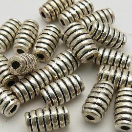Perle métal cylindre argent 10x5mm