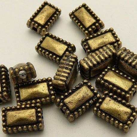 Perle métal rectangle vieil or 10x6mm