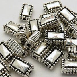 Perle métal rectangle vieil argent 10x6mm