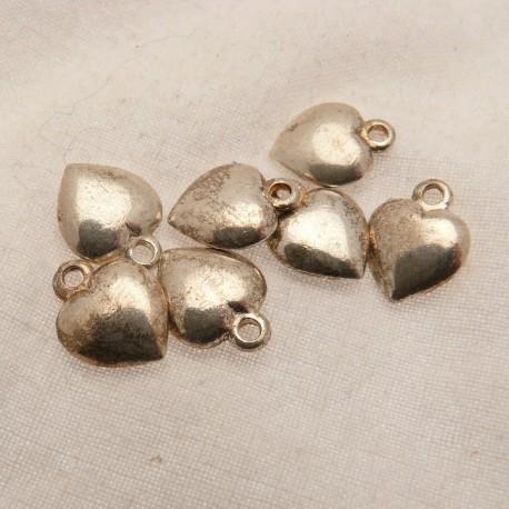 Perle métal coeur argent pendentif