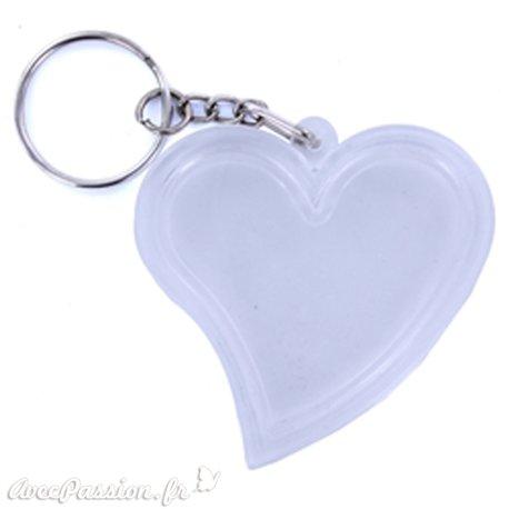 Porte clés plexiglass coeur transparent 5.5cm