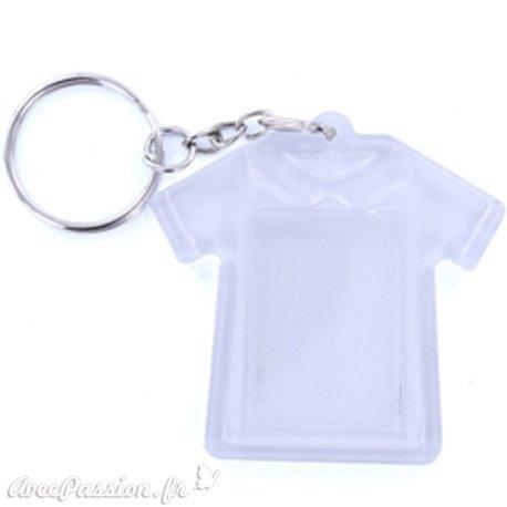 Porte clés plexiglass robe transparent 6x6cm
