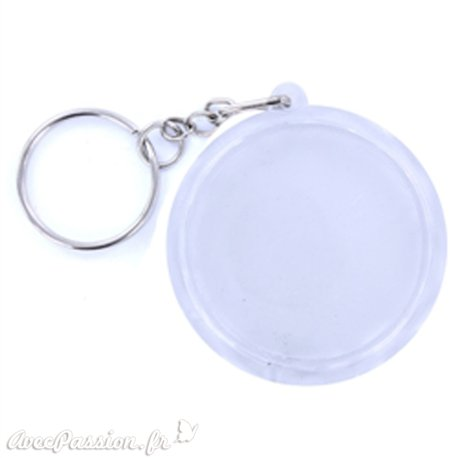 Porte clés plexiglass rond transparent 4.5cm
