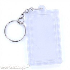Porte clés plexiglass rectangle transparent 3.9x6.3cm