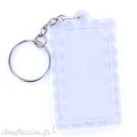 Porte clés plexiglass rectangle transparent 3.9x6.3cm