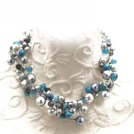 Collier ras de cou perle de verre gris bleu bijou fantaisie de créateur