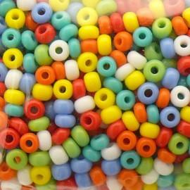 Perles de rocaille sachet 15g opaque 2mm multi pastel