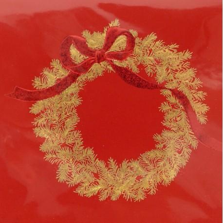 Carte d'art embossé couronne de noel rouge et or