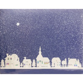 Carte d'art embossé village noel bleu et argent