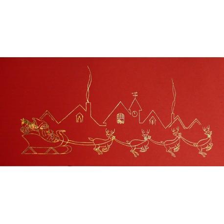 Carte d'art embossé le père noel et son traineau rouge et or