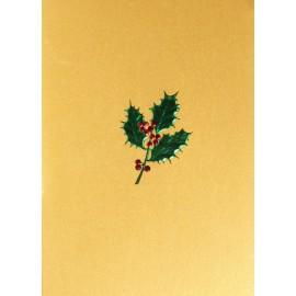 Carte d'art embossé houx vert et rouge fond or