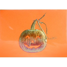 Carte d'art Halloween embossé or citrouille orange et or
