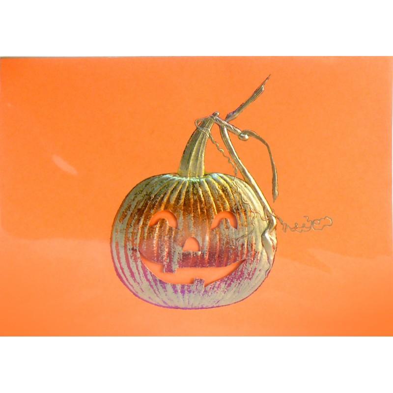 Carte postale encadrement emboss or citrouille orange or - Prix d une citrouille ...
