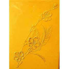 Carte d'art fleurs cerisier du japon embossé or