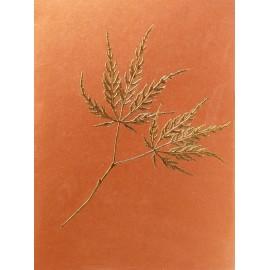 Carte d'art fleurs embossé cuivre et or 2 feuilles d'érable