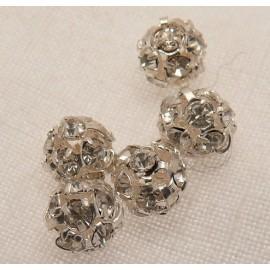 Perle strass swarovski boule cristal argent 4mm