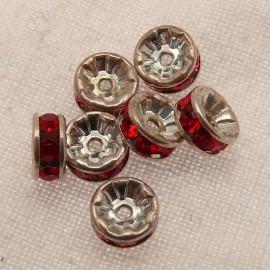 Perle strass swarovski rondelle argent rubis 6mm
