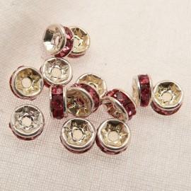 Perle strass swarovski rondelle argent rose 6mm