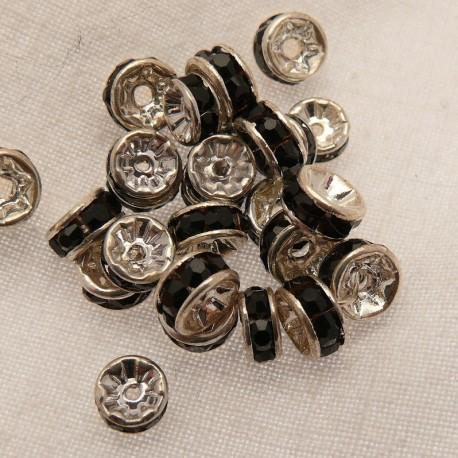 Perle strass swarovski rondelle argent noir 6mm