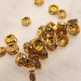 Perle strass swarovski rondelle or cristal 6mm