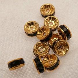 Perle strass swarovski rondelle or noir 6mm