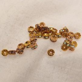 Perle strass swarovski rondelle or cristal 4mm