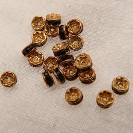 Perle strass swarovski rondelle or noir 4mm