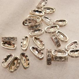 Perle strass swarovski demi lune argent cristal