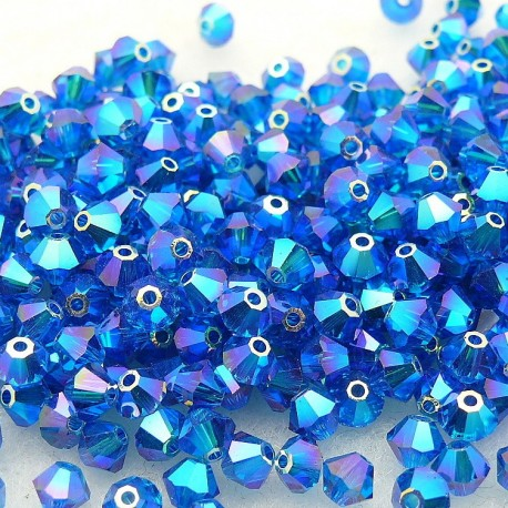 Perles Swarovski Toupies bleu capri 2X 4mm qu50