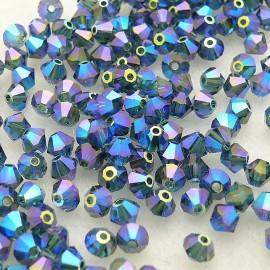 Perles Swarovski Toupies bleu montana 2X 4mm qu50