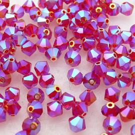 Perles Swarovski Toupies rouge siam 2X 4mm qu50