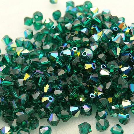 Perles Swarovski Toupies vert émeraude AB 4mm qu50
