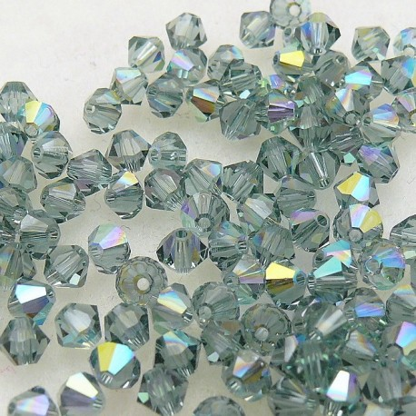 Perles Swarovski Toupies vert indian saphir AB 4mm qu50