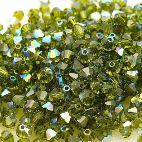 Perles Swarovski Toupies vert olivine AB 4mm qu50