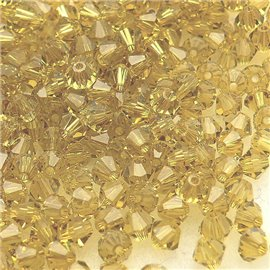 50 perles Swarovski Toupies jaune lime 4mm