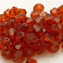 perle toupie swarovski orange indiana red 6mm qu10