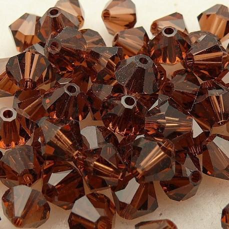 10 perles Swarovski Toupies smoked topaze 6mm