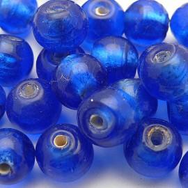 Perles verre murrano venise ronde 8mm bleu qu5