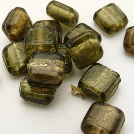 Perle verre murrano venise carré 9mm gris x1