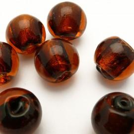 Perle verre murrano venise ronde 15mm topaze x1