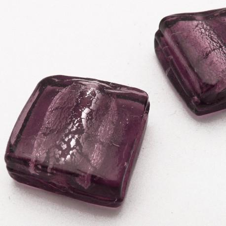 Perle verre murrano venise carré 25mm violet x1